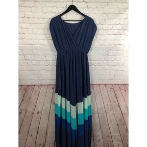 Torrid navy blue chevron chiffon maxi dress